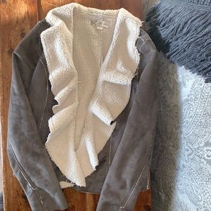 Teddy Lined Faux Suede Jacket